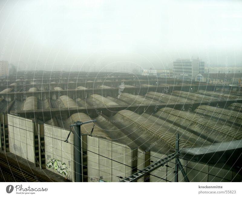 Dark Wall (building) Wall (barrier) Graffiti Fog Roof Railroad tracks Weatherproof
