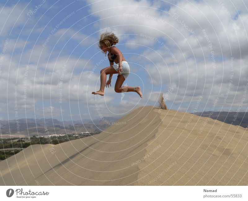 Girl Sky Vacation & Travel Clouds Jump Sand Beach dune