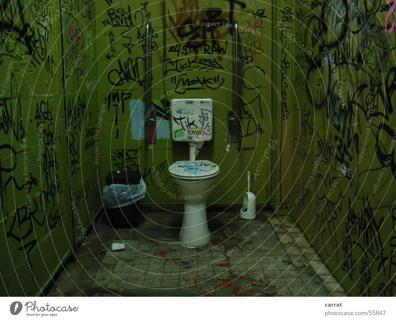 Green Graffiti Style Art Painting (action, work) Trash Toilet Tile Handicapped Trash container Street art