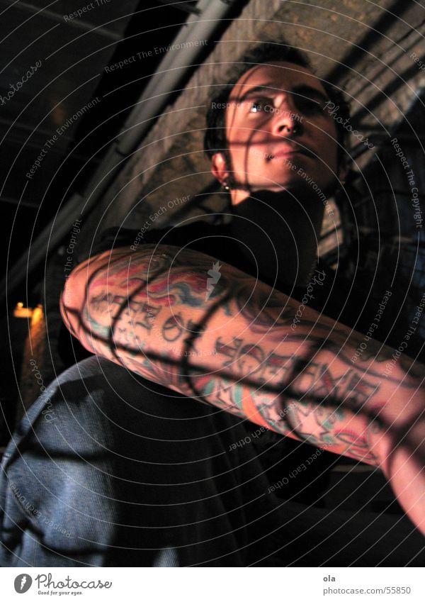 Man Arm Sit Stairs Brick Tattoo Piercing Grating Bielefeld