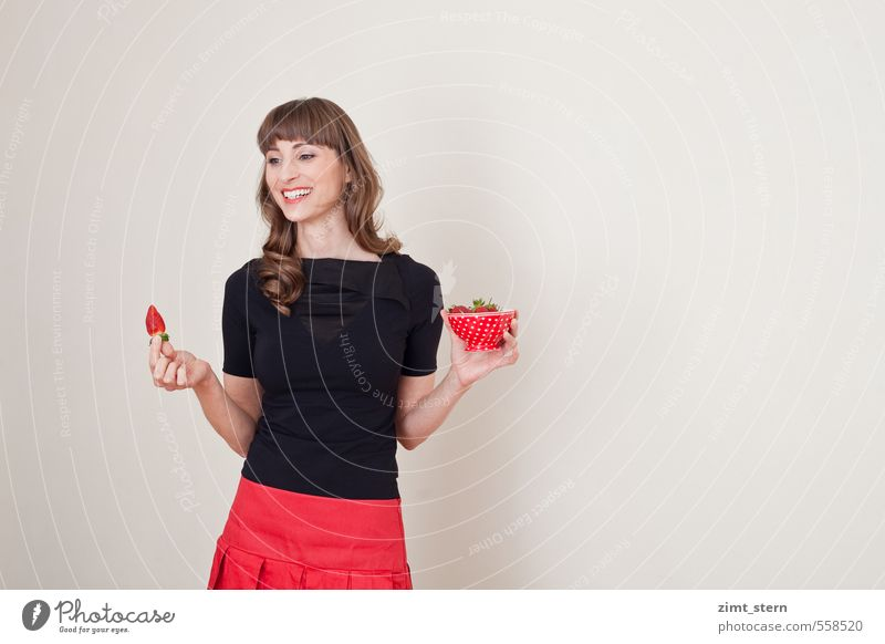 Strawberry happiness! Feminine 1 Human being 18 - 30 years Youth (Young adults) Adults Clothing T-shirt Skirt Brunette Long-haired Bangs To enjoy Red Black Joy