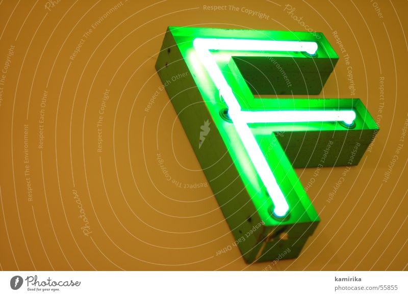 Green Lamp Wall (building) Characters Letters (alphabet) Advertising Neon light Glow Neon sign