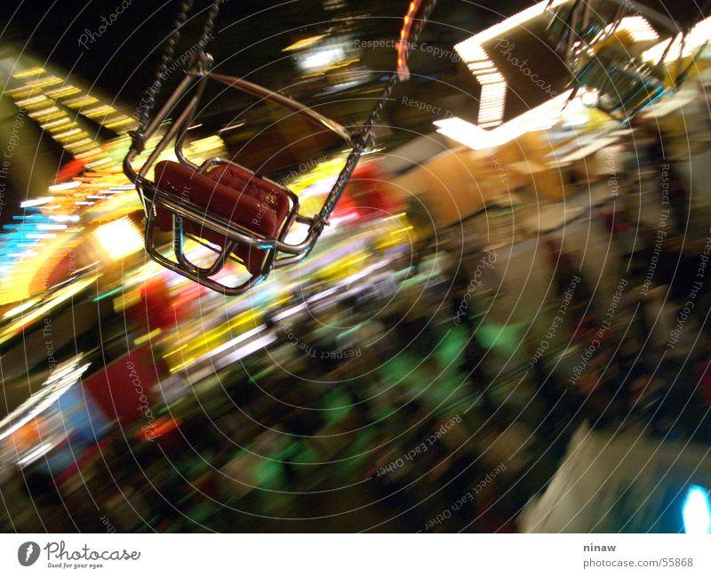 The chain carousel Joy Freedom Chair Fairs & Carnivals Human being Air Rotate Yellow Red Cannstatter Wasen Airy Vertigo Circle Seating Chain Carousel Giddy