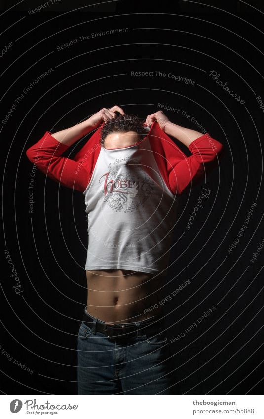 Head Thin Stomach Sweater Navel Extract Young man Showing one's bellybutton Naked flesh Dark background