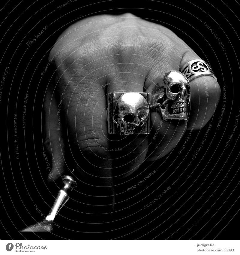 Human being Man Hand White Black Nutrition Dark Skin Fingers Circle Jewellery Silver Fist Fork Death's head Cutlery