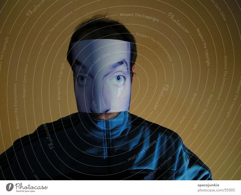 HUI BUH! Portrait photograph Wall (building) Yellow Face Mask Eyes Shadow Track-suit top Blue huibuh