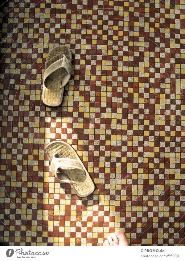 Red Yellow Feet Brown Clothing Wellness Swimming pool Tile Mosaic Spa Sandal