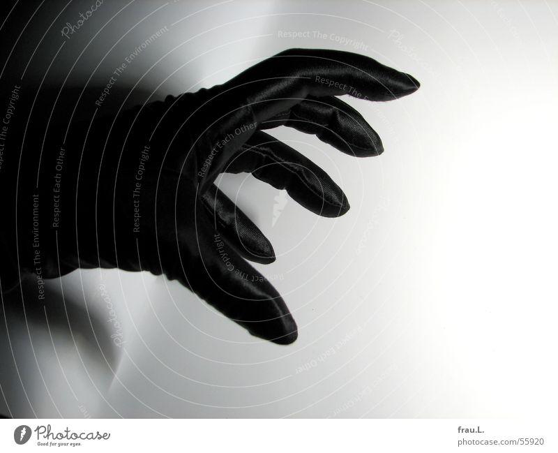 claw Satin Evening wear Extravagant Woman Claw Hand Gloves Black Fingers Threat Feminine Evil Eerie Thriller Fear Panic Clothing Shadow Elegant Detective novel