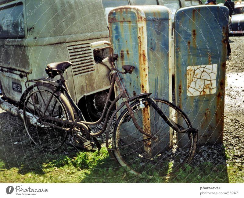 Somewhat rusty Bicycle Scrap metal Petrol pump Broken Retro Old-school Rust bulli T1 wheel scrap iron gasoline