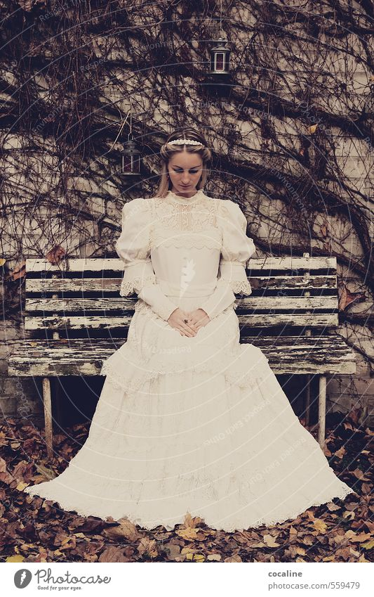 sedentary Woman Adults 18 - 30 years Youth (Young adults) Dark Beautiful Modest Humble Apocalyptic sentiment Eternity Bride Wedding Dress Blonde Vintage Lantern