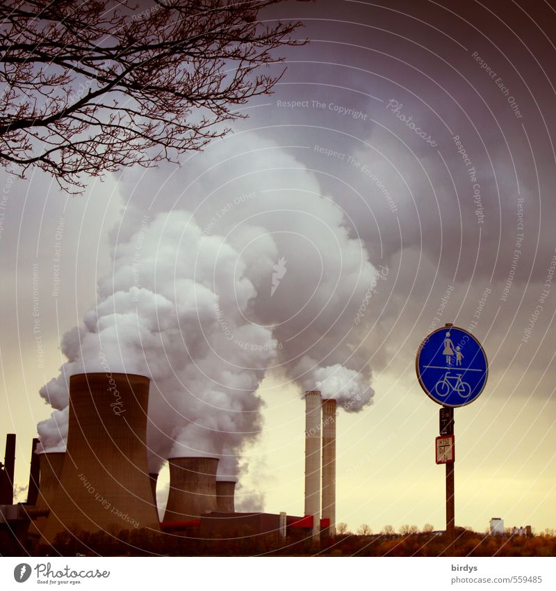 flat breathing trigger Industry Energy industry Coal power station Environment Clouds Autumn Climate change Bad weather Niederaußem Industrial plant