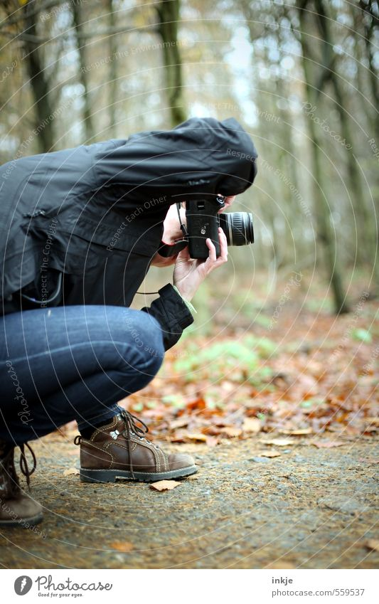 autumn walk Lifestyle Leisure and hobbies Take a photo Camera Single-lens reflex camera Woman Adults Body 1 Human being 30 - 45 years Nature Autumn Winter Leaf