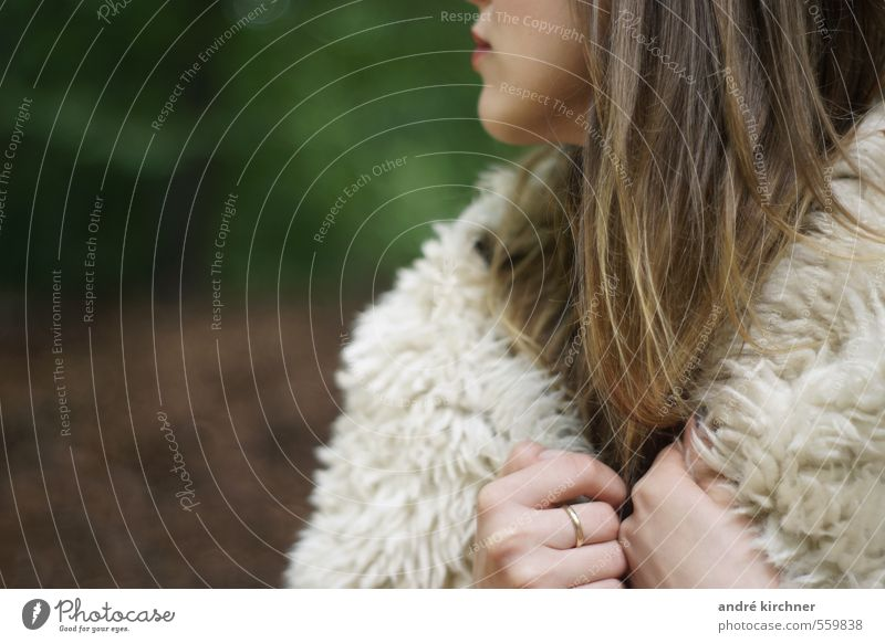 it's getting closer Feminine Young woman Youth (Young adults) Hand Nature Forest Sheep Ring Rotate Wait Rebellious Wild Brown Green Bravery Willpower Inhibition