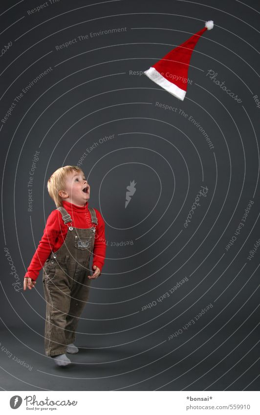 Advent, Advent Playing Christmas & Advent Child Toddler Boy (child) 1 Human being 1 - 3 years Cap Movement Flying Laughter Jump Throw Brash Happy Small Cute Joy