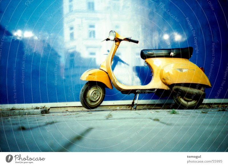 When snails dream Means of transport Scooter Parking blue-yellow-contrast Lomography Wait maintenance