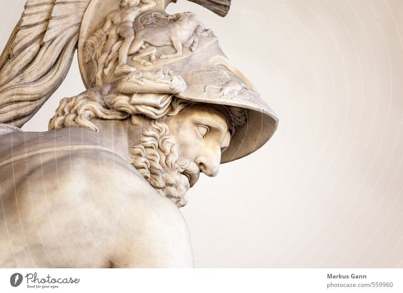 menelaus Human being Masculine Man Adults Head Art Sculpture Strong Brown Gray Italy Statue Living thing Renaissance Hero Helmet Facial hair Piazza del Signori