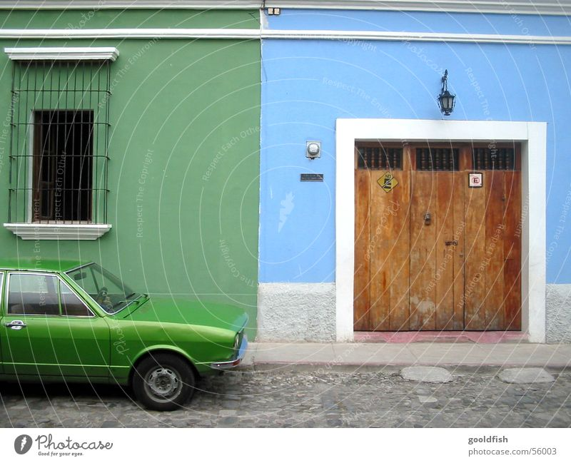 color park Green Parking Colonial style Vacation & Travel Entrance Window Welcome Background picture Seventies Blue Car Old Door Stone Antigua Architecture