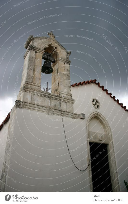 menacingly Bell Clouds Rescue Crete Religion and faith Threat Wide angle Rain Thunder and lightning Fear Sadness