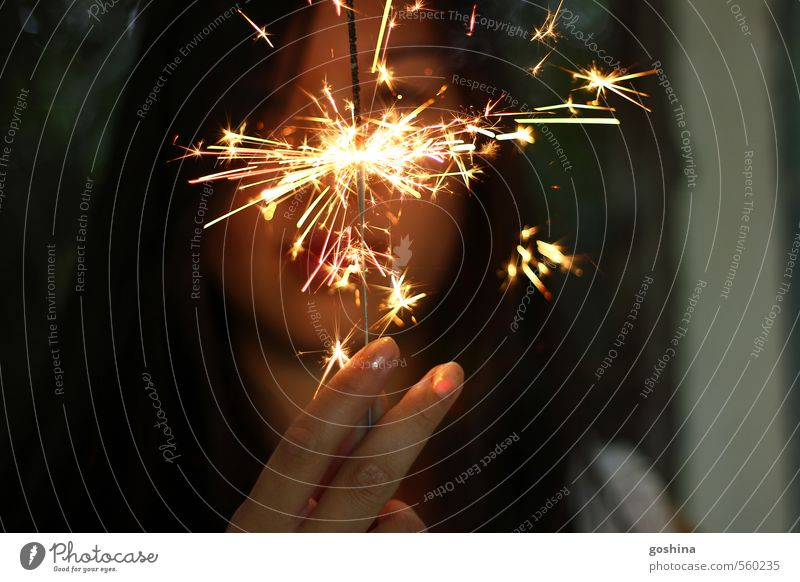 Human being Youth (Young adults) Young woman 18 - 30 years Adults Feminine Power Success Fingers Curiosity New Year's Eve Optimism Asians Sparkler