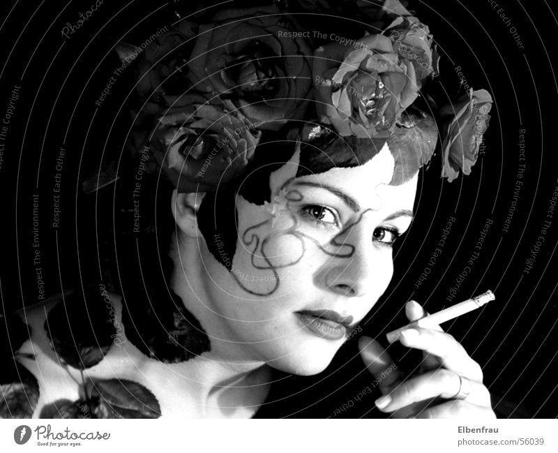 rose smoke Rose Fantasy literature rosy-headed Smoke Smoking Black & white photo