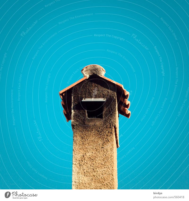Apartment fire in the birdhouse Cloudless sky Beautiful weather Chimney Esthetic Exotic Warmth Blue Yellow Design Mediterranean Weatherproof Funny Soot