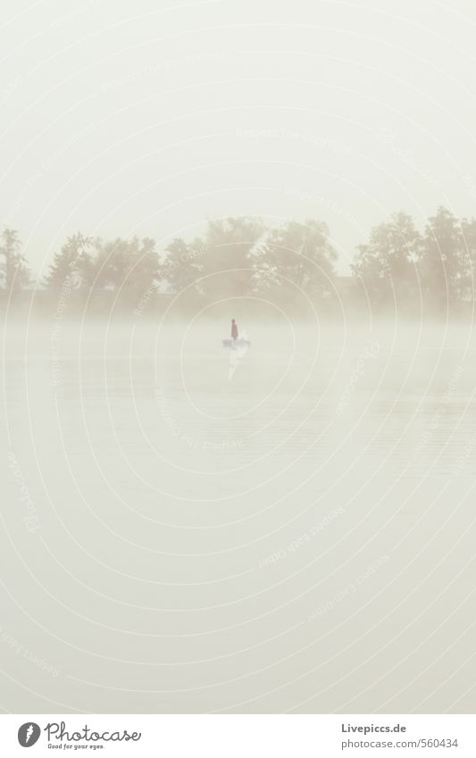 ...fishing in the murky waters Leisure and hobbies Fishing (Angle) Human being Masculine 1 Environment Nature Landscape Water Sky Clouds Autumn Weather Fog