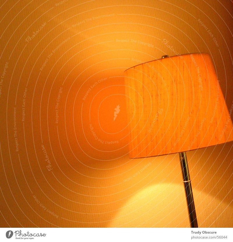 Yellow Wall (building) Lamp Bright Orange Room Interior design Round Umbrella Living room Lampshade