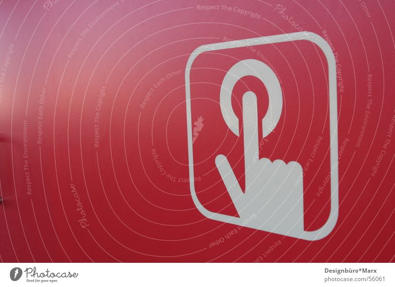 Hand White Red Wall (building) Fingers Crazy Round Symbols and metaphors Buttons Switch Pictogram Icon Oval