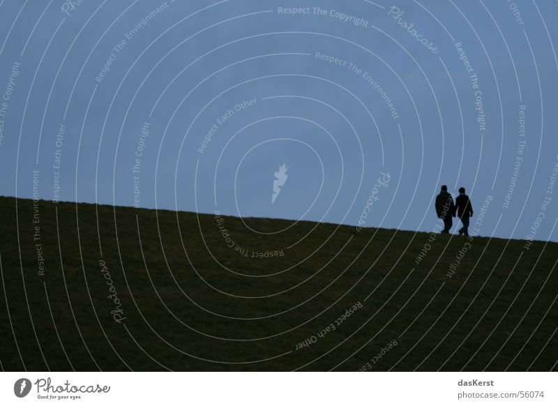 twosome Together Dike Ocean Downward Coast Man Woman Harmonious Silhouette North Sea Couple Wind In pairs Lovers