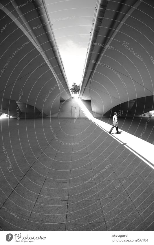 Man in the light under a bridge Light Design Singapore man walk architect architecture graphic construction shadow