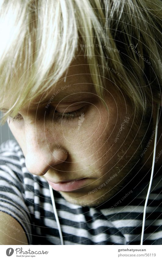 Man Face Dark Cold Music Gray Hair and hairstyles Head Sadness Grief Under Thought Headphones Pallid Negative MP3 player