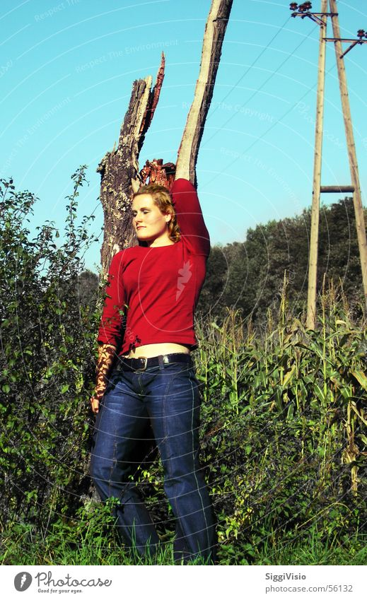 Woman Green Blue Red Jeans Posture Tree stump