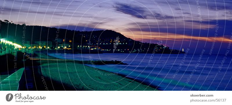 Sun Ocean Beach Vacation & Travel Clouds Coast Horizon Cote d'Azur Lantern Sunrise Street lighting Nice