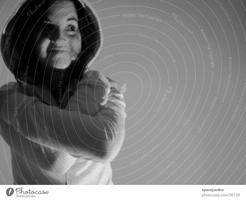 anna Portrait photograph Hooded sweater Wall (building) Human being Face Eyes Looking Shadow Black & white photo s\w