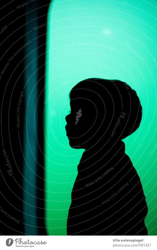 silhouette Child Toddler Boy (child) 1 Human being Short-haired Green Black Moody Fear Loneliness Discover Colour Infancy Innocent Anonymous Silhouette Contrast