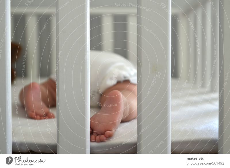 Baby behind bars Children's room Human being Toddler Family & Relations Infancy Life Feet 1 0 - 12 months Line Sleep Small Cute White Happy Love Responsibility