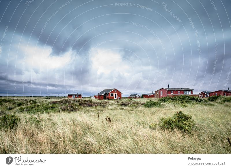 Cloudy weather Sky Nature Vacation & Travel Blue Colour Summer Red Landscape Clouds House (Residential Structure) Beach Grass Coast Architecture Building Sand