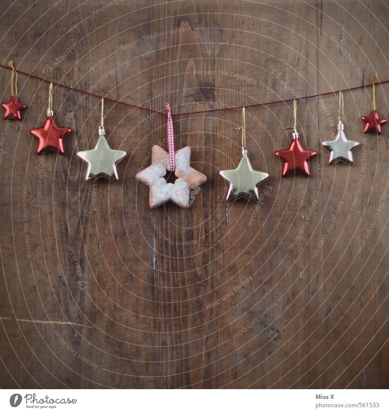 Christmas & Advent Wood Feasts & Celebrations Moody Glittering Door Decoration String Star (Symbol) Hang Festive Christmas decoration Hang up Wood grain Paper chain Christmas tree decorations