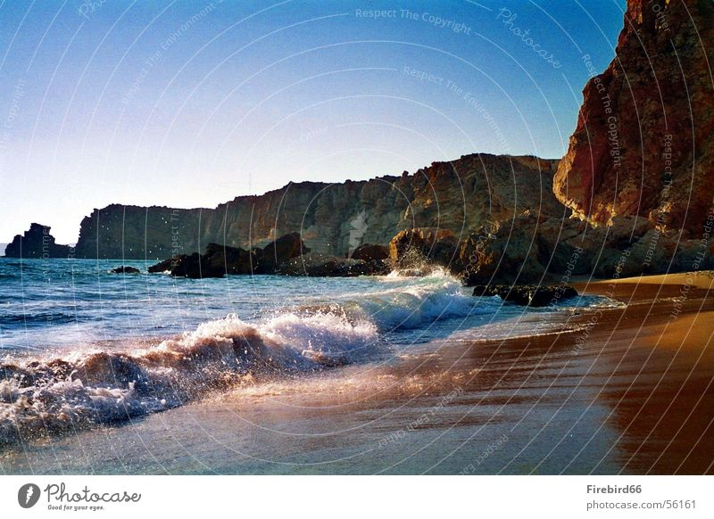 Sun Ocean Beach Warmth Waves Glittering Rock Physics Coast Portugal Algarve Sagres