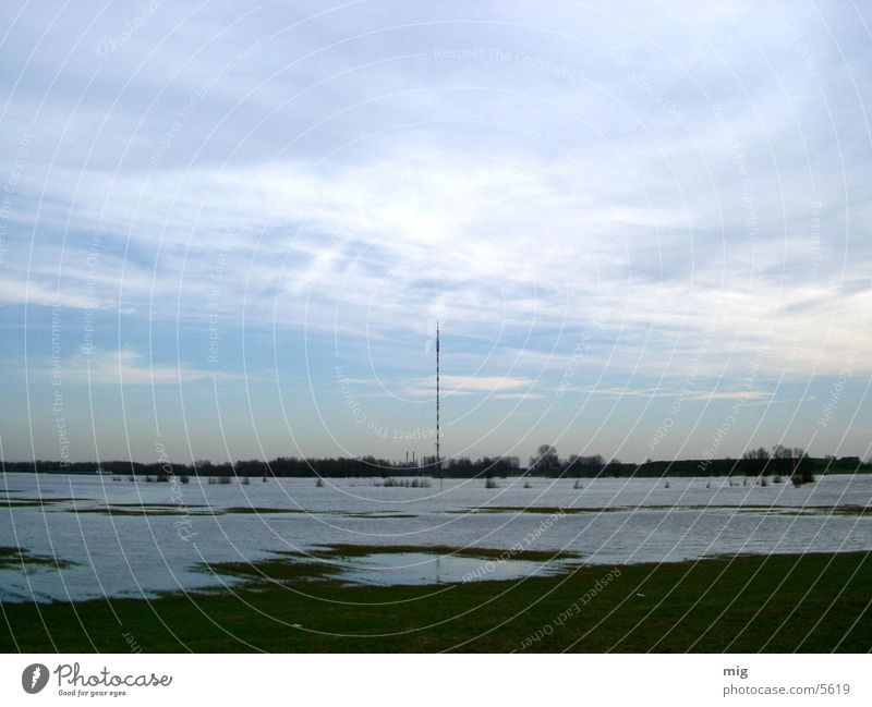Wesel Clouds Water Rhine Landscape Nature