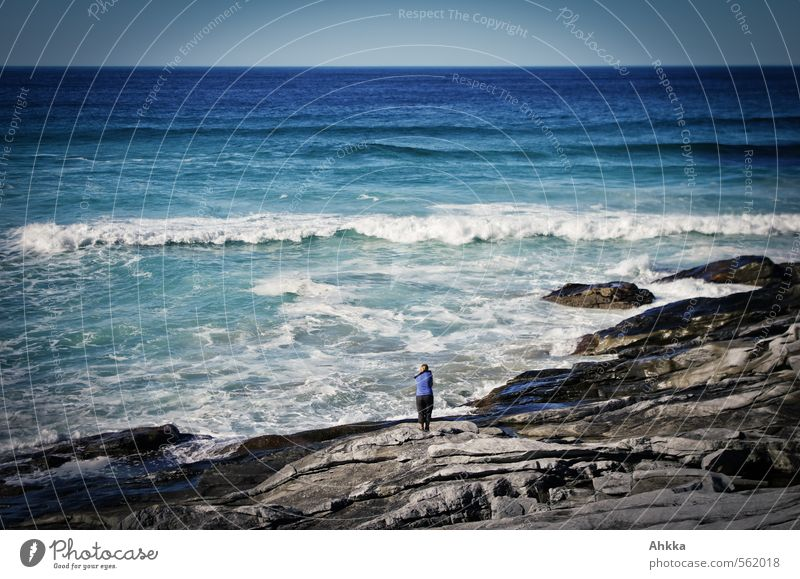 Human being Nature Youth (Young adults) Blue Ocean Relaxation Young woman Landscape Calm Girl Far-off places Life Movement Coast Freedom Rock