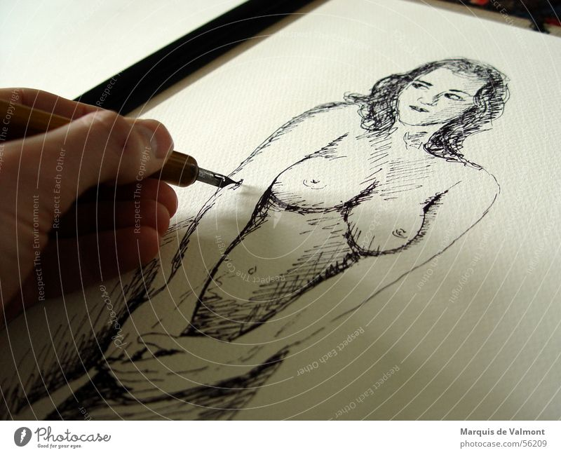 Chest or leg. Woman Adults Breasts Hand Stomach Art Artist Painting and drawing (object) Paper Draw Conceptual design Ink Female nude Fountain pen Folder Navel