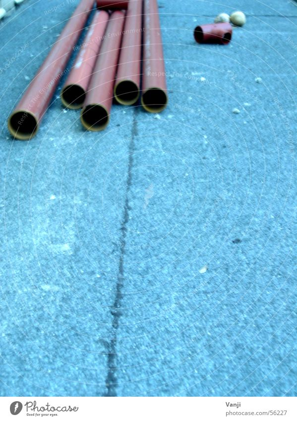 Pipe free Construction site Remainder Tumbledown Craft (trade) Industry Blue Lie Build Iron-pipe
