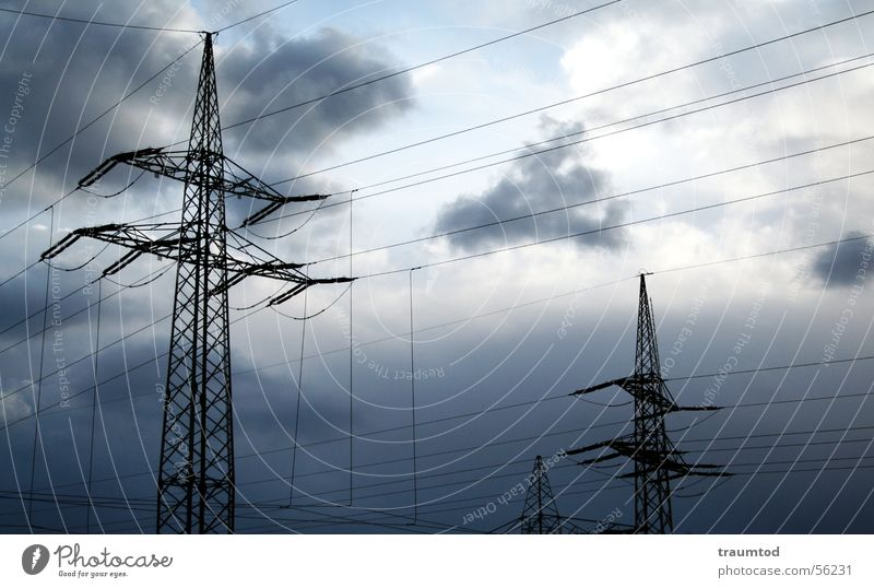 Nature Sky Sun Blue Clouds Rain Electricity Industrial Photography Cable Strong Steel Electricity pylon Transmission lines Mud flats