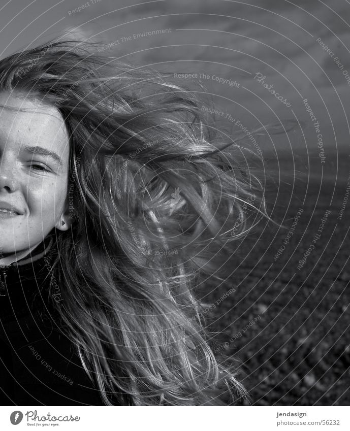Wind in your hair Girl Field Winter Hair and hairstyles Laughter Joy Black & white photo