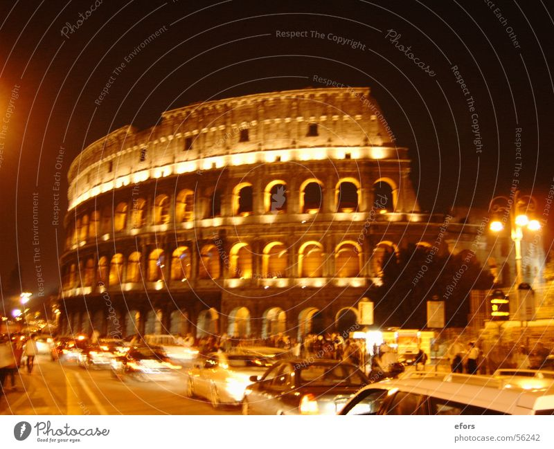 Colosseum Rome Italy Night Light Building