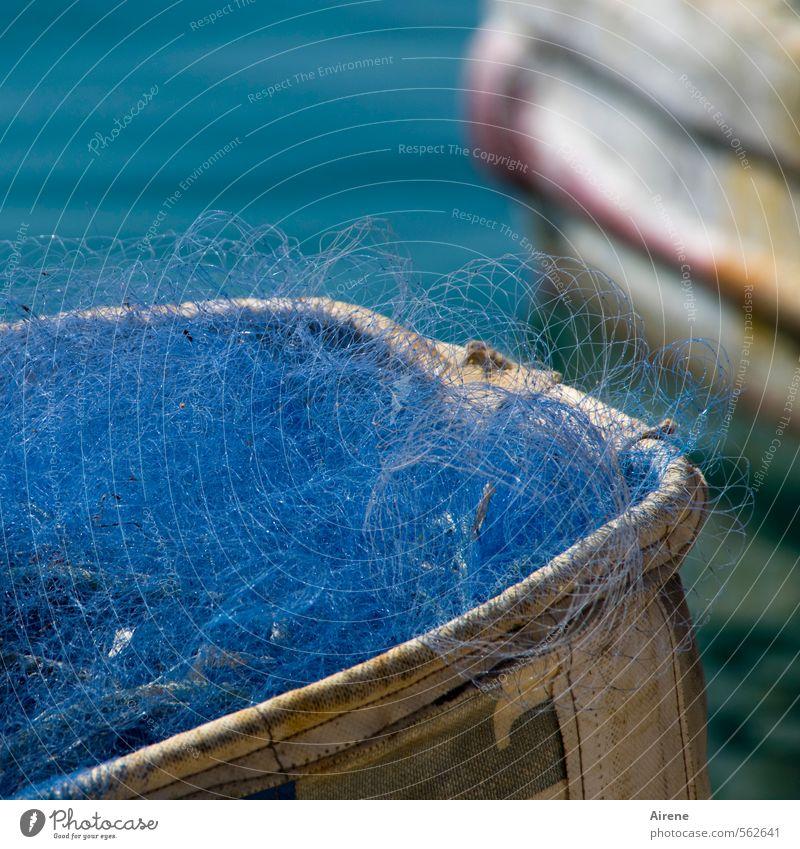 Blue White Water Colour Illuminate Network Net Turquoise Navigation Craft (trade) Nostalgia Effort Fishery Fisherman Fishing boat Diligent