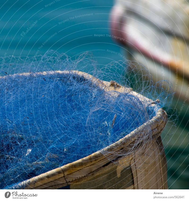 blues Fisherman Fishery Craft (trade) Navigation Fishing boat fishnet Net Fishing net Fishing port Water Illuminate Blue Turquoise White Diligent Orderliness
