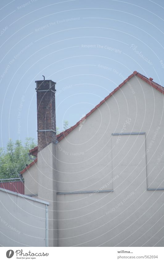 Blue House (Residential Structure) Wall (building) Wall (barrier) Gray Facade Door Cloudless sky Chimney Gable Plastered Gable end