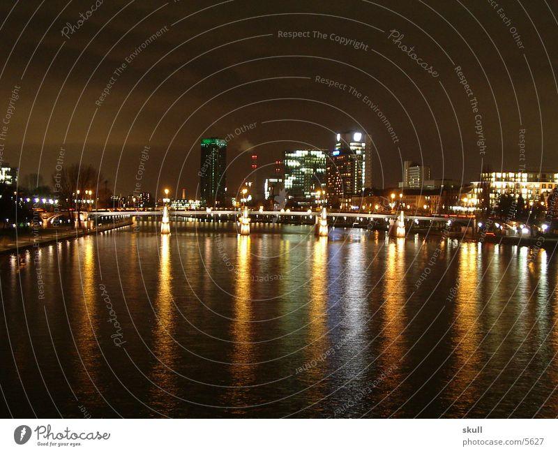 ffm by night 2 Frankfurt Night Night shot Light High-rise Bridge Water Reflection